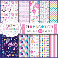 Hopskotch Digital Papers = adorable papers in a variety of pastel colors.  Perfect for scrapbooking and crafts.