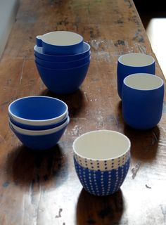Canvas Cloth and Bowl Cast Ceramics