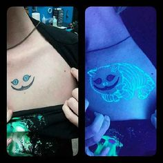 Neue Tattoos, Body Art Tattoos, Small Tattoos, Stomach Tattoos, Girly Tattoos, Cheshire Cat Tattoo, Black Light Tattoo, Inked Guys, Tattoo Designs