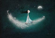 Wherever the wind takes me Artist: Amanda Cass Tom Bagshaw, Art Carte, Sun And Stars, Beautiful Moon, Art Et Illustration, Moon Art, Whimsical Art, Large Prints, Ikon