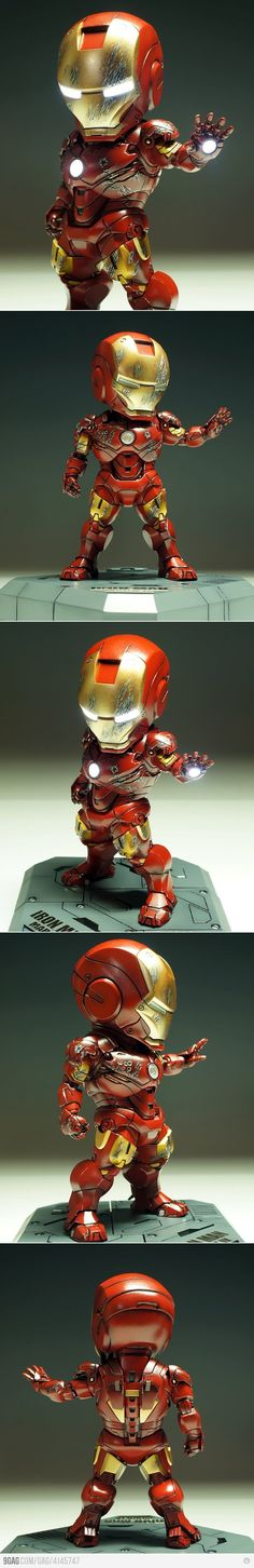 Light-up chibi style Iron Man Figure. Heros Comics, Marvel Dc Comics, Marvel Heroes, Chibi Marvel, Iron Men, Toy Art, 3d Figures, Action Figures, Geeks