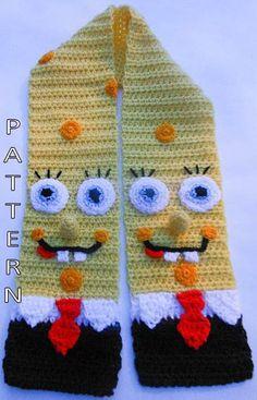 Crochet Pattern Spongebob Scarf Character Scarf by WistfullyWoolen
