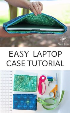 Easy Custom Laptop Case Using Fleece and Eco Canvas - This easy tutorial shows a. Easy Custom Laptop Case Using Fleece and Eco Canvas – This easy tutorial shows all the steps to m Laptop Diy, Custom Laptop, Laptop Bags, Laptop Pouch, Easy Sewing Projects, Sewing Hacks, Sewing Tutorials, Tutorial Sewing, Sewing Diy