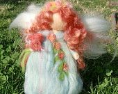 Wool Angel - Needle felted Flower Garden Fairy in Blue Waldorf inspired  Made to order By Rebecca Varon