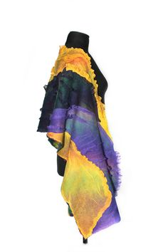 Nuno Felted Textured Scarf Felted Wrap Reversible Multicolor Wool Felt Scarf Gift For Her OOAK $165
