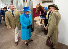 Queen Elizabeth II during an official visit to Cotts Farm Equine Hospital, Narbeth on April 29, 2014