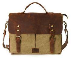 Retro Designer Mens Canvas Leather Satchel Messenger Shoulder Tote BAG Briefcase | eBay