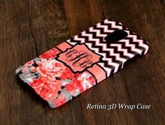 #acycshop Chevron Floral Monogram Samsung Galaxy S5/S4/S3/Note 3/Note 2 3D-Wrap Case