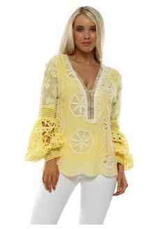 Stylish Laurie & Joe yellow holiday & beach tops available online now at Designer Desirables. Browse the full collection delivered free Yellow Print, Yellow Top, Long Sleeve Maxi, Maxi Dress With Sleeves, Beaded Crochet, Crochet Top, Luxury Designer, Designer Wear, Kaftan Tops