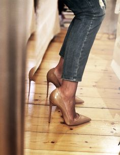 denim & nude heels.