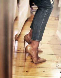 denim & nude heels.