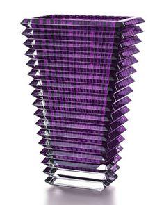 H7K7G Baccarat Large Purple Rectangular Eye Vase