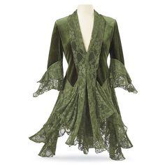 Moss-Green Velvet & Lace Jacket - Women's Clothing & Symbolic Jewelry –…