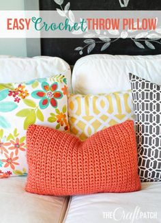 Crochet For Beginners Easy Crochet Throw Pillow. Perfect project for beginners! Easy Crochet, Free Crochet, Knit Crochet, Crotchet, Beaded Crochet, Chunky Crochet, Crochet Stitches, Crochet Patterns, Easy Patterns