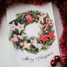 Мери кристмас закончился, а желание рисовать рождественские венки осталось) #акварель #рисуюкаждыйдень #учусьрисовать #рождественскийвенок #рождество #merrychristmas #watercolor #art #draw Merry Christmas Card, Christmas Clipart, Christmas Art, All Things Christmas, Christmas Wreaths, Christmas Decorations, New Year Illustration, Christmas Illustration, Watercolor Illustration