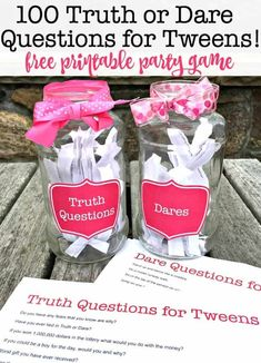 The Best Party Game for Tweens! The Best Party Game for Tweens!,Birthday Party Games for Kids Truth or Dare is the perfect party game for tween sleepover parties. This G-rated Truth or Dare game. Tween Party Games, Fun Sleepover Ideas, Birthday Party Games For Kids, Sleepover Birthday Parties, Sleepover Activities, Girl Sleepover, Game Party, Sleepover Games Teenage, Birthday Ideas