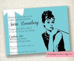 Audrey Hepburn Breakfast at Tiffany's Shower Invite by designsbynicolina on Etsy