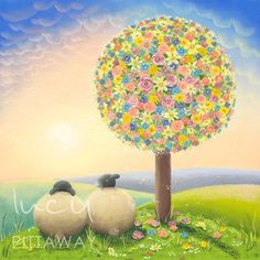 A stunning floral tree and Swaledale Sheep by Lucy Pittaway part of the ten piece Flower inspired art collection available now Sheep Illustration, Sheep Art, Ewe Sheep, Eid Crafts, Colorful Paintings, Pastel Art, Chalk Art, Illustrations, Artwork Prints
