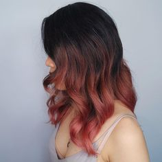 I love the way this blends from the dark brown to red to pink. Prefer it to start further up, or maybe highlights throughout?