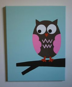 Miss Owl canvas from PaintMeAPicture on Etsy.
