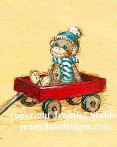 Sock monkey art-  Sock monkey and red wagon: hand signed art print on Etsy, $23.00 CAD