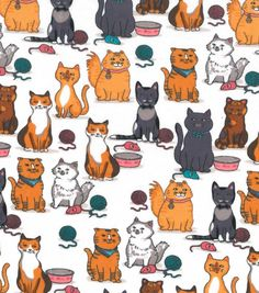 Snuggle Flannel Fabric 42''-Kitty, Mice & Yarn