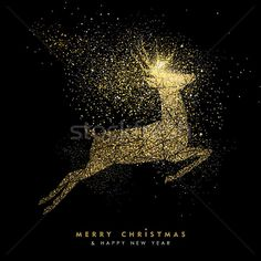Christmas and new year holiday gold glitter deer stock photo (c) cienpies (#8415152) | Stockfresh