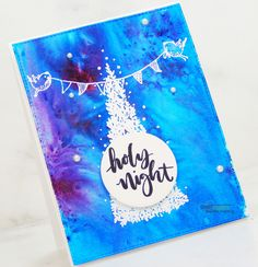 For Watercolor Wednesday, I made a night time sky background holiday card scene. For this process, I used watercolor powders with stamping. Watercolor Cards, Night Time, Handmade Cards, Holiday Cards, Artsy, Stamp, Sky, Christmas, How To Make