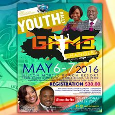 COGIC International Youth Department | Southeast Region Youth Rally on May 6-7, 2016.  Registration is $30.00 and Location: Hilton Myrtle Beach Resort 10000 Beach Club Boulevard, Myrtle Beach, SC 29582  For More Info: https://www.facebook.com/COGIC-Southeast-Region-Youth-Department-1565537517049570