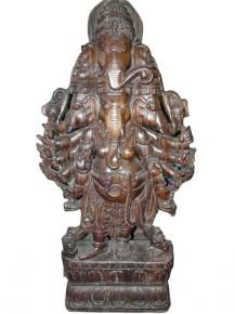 ganesha statue, wood sculpture, carved wooden statues