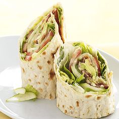 ABCLT Wraps -- Avocado, bacon, cucumber, lettuce, and tomato slices fill these easy to make sandwich wraps.