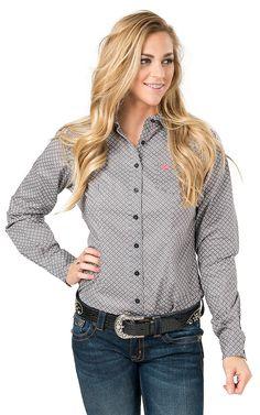 Cinch Women's Grey Diamond Print Long Sleeve Western Shirt   Cavender's