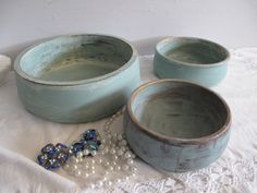 Set/3 Vintage Wooden Bowls, Gift, Distressed & Handpainted, Aqua, Duck egg blue