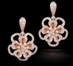 Diamond Earring in Rose Gold Diamond earrings set in 18K Rose gold.