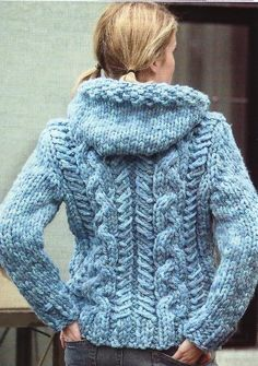 "$$$$$ LADIES SUPER CHUNKY CABLED CARDIGAN / JACKET KNITTING PATTERN 30-44""/76-112CM   uk.picclick.com"