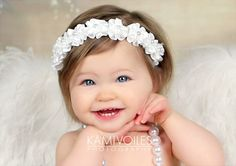 White Floral Crown Angel Halo Wreath Pearl by PrettyToppings