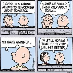 A conversation with Charlie Brown and Linus.