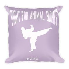 FTLA Apparel Light Purple Fight For Animal Rights Square Pillow