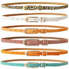 Womens Ladies Skinny Waist Belt Leather Narrow Waistband Cinch Dress Thin Belts