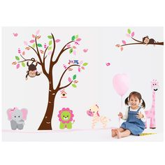 #gib árbol de mono extraíble mural de vinilo calcomanía de pegatinas de pared Para Niños Decoración del Hogar