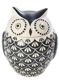 Hand Painted Owl Canister Pinned by www.myowlbarn.com