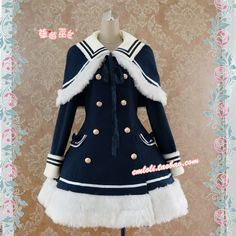 [Strawberry] LOLITA Lolita Dresses Navy Blue Witch modified version of the Navy wind woolen coat with cape $64