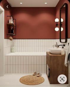 Bad Wand, Bathroom Interior Design, Interior Modern, Interior Ideas, Interior Livingroom, Red Interior Design, Apartment Bathroom Design, Interior Colors, Interior Plants