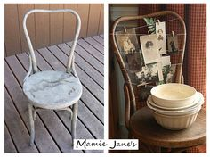 We love this great idea for a photo gallery by Funky Junk Interiors! What a good way to give old chairs new life! UrbanRelicsConsignment.com | Roswell, GA