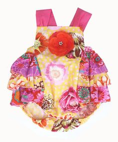 Love this Pink & Yellow Floral Romper - Infant on #zulily! #zulilyfinds