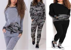 New Ladies Women's Army Camouflage Print 2 Piece Tracksuit Jogging Lounge Suit | Clothes, Shoes & Accessories, Women's Clothing, Hoodies & Sweats | eBay!