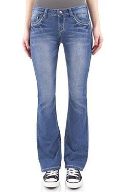 57e5976c WallFlower Women's Juniors Classic Legendary Stretch Bootcut Denim Jeans:  Our Classic Legendary Bootcut Jeans feature five pocket styling, single  button ...