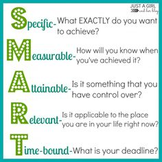 """SMART Goals: """"S""""pecific; """"M""""easurable; """"A""""ttainable; """"R""""elevant; """"T""""ime-bound - measure your goals by these words and they will be achievable! Smart Goal Setting, Setting Goals, Achieving Goals, Achieve Your Goals, Goals Printable, Free Printables, 6 Sigma, Goal Setting Template, Short Term Goals"""