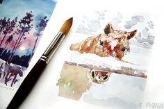Illianas magiska vintervärld: Hästen Stjärna, efter ett foto av Illiana Anklew. Akvarell av Alicia Sivertsson - www.aliciasivert.se Gouache, Abstract, Illustration, Artwork, Pictures, Summary, Work Of Art, Auguste Rodin Artwork, Artworks