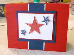 Patriotic Stampin'Up Simply Stars Stamp Set Scrap Rx Patriotic Crafts, July Crafts, Military Cards, Star Cards, Scrapbook Cards, Scrapbooking, Paper Stars, Cute Cards, Greeting Cards Handmade